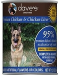 Dave's 95% Chicken % Chicken Liver Canned Dog Food 12.5 oz