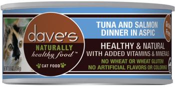 Dave's Grain Free Tuna & Salmon Dinner in Aspic Canned Cat Food 5 5 oz