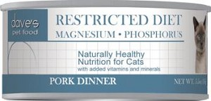 Dave's Restricted Diet Magnesium-Phosphorus Pork Dinner for Cats 5.5 oz